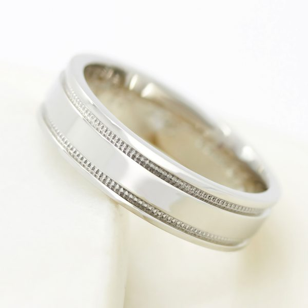 polished and milgrain mens wedding ring