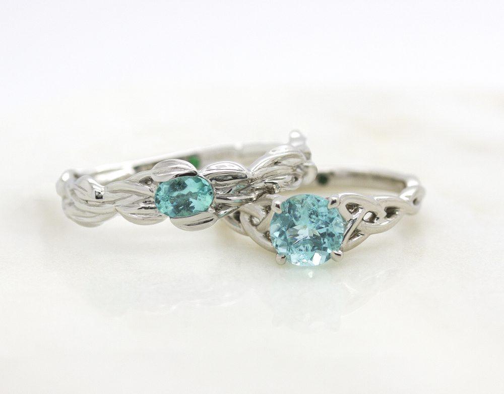 matching paraiba tourmaline engagement rings