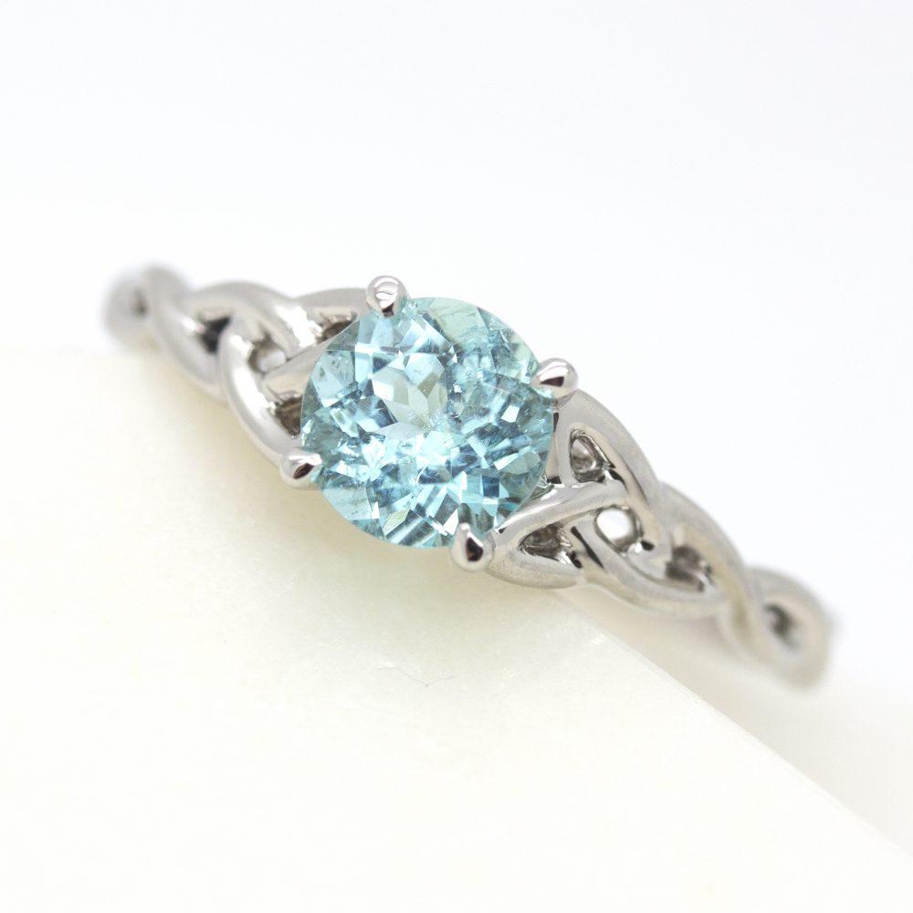 paraiba tourmaline celtic engagement ring