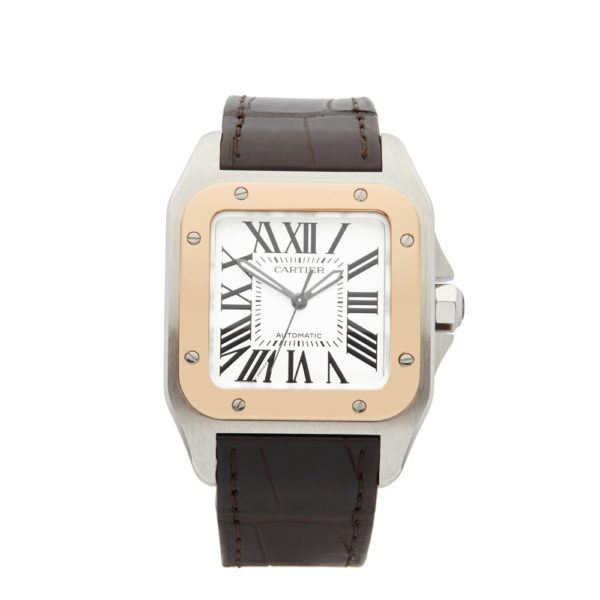 Cartier-Santos-Stainless-Steel-18K-Rose-Gold-Gents-W20107X7