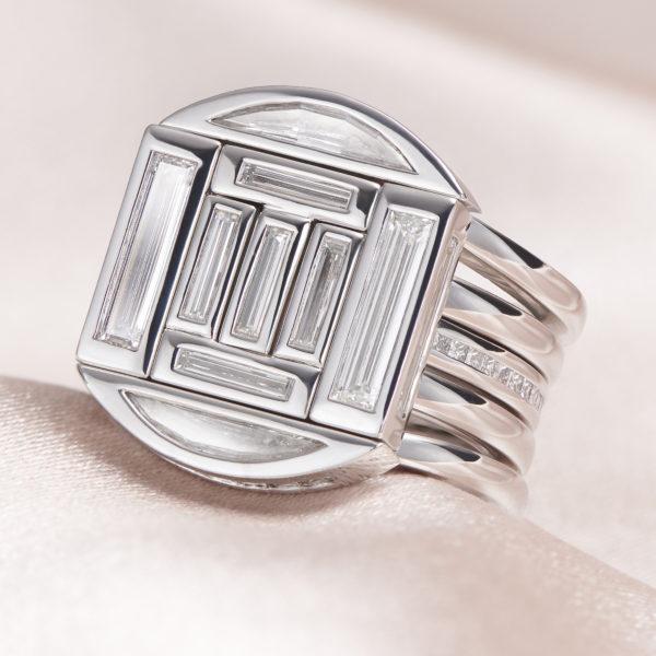 baguette and half moon diamond rings