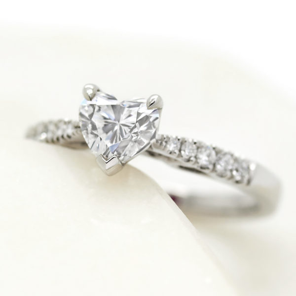 heart shape diamond engagment ring with pave diamonds2