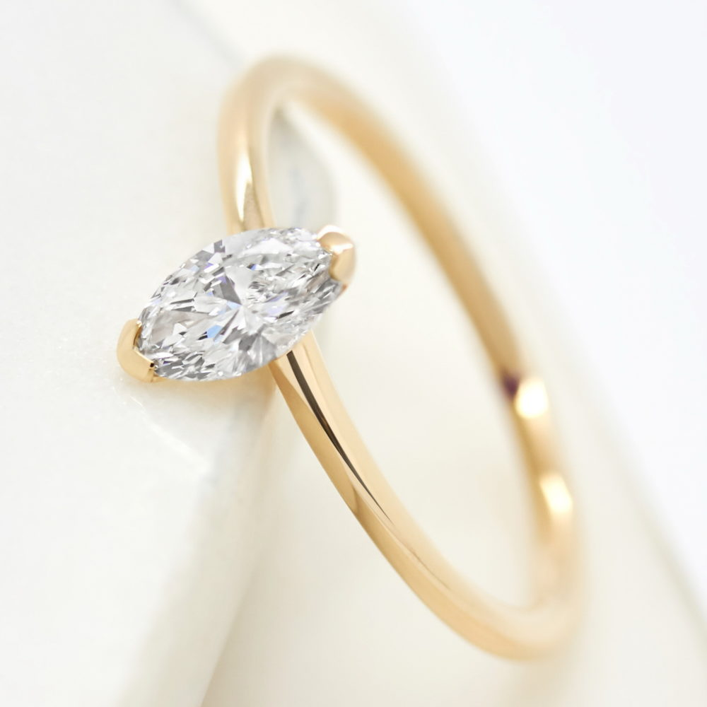 marquise diamond solitaire yellow gold