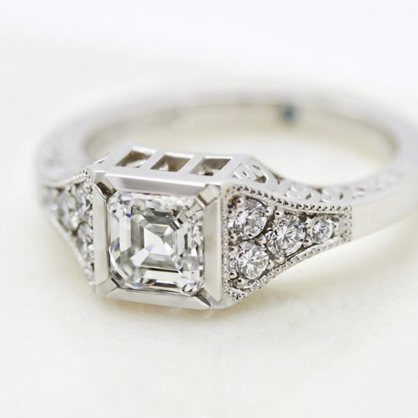 structural asscher cut diamond engagement ring