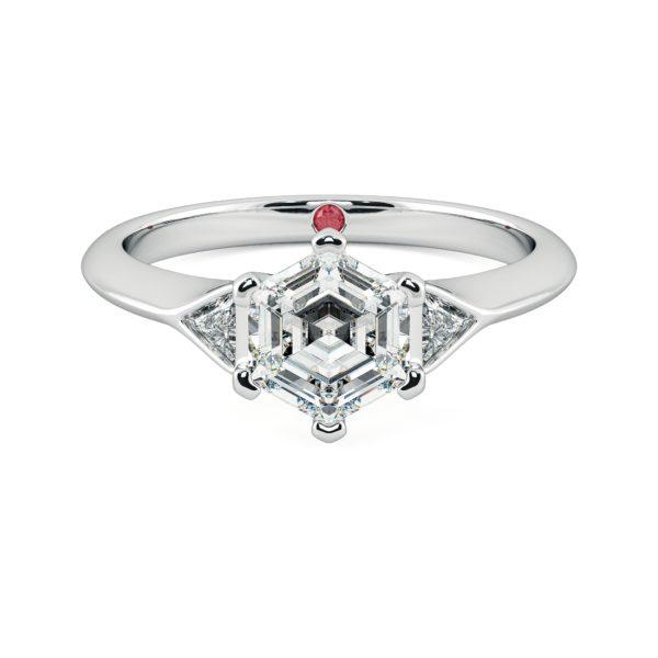 white gold gossamer hexagonal diamond engagement ring taylor and hart