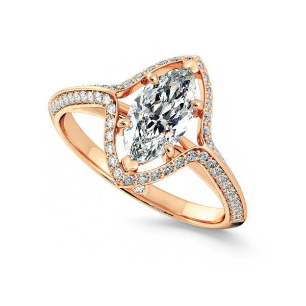 Knife edge halo Marquise Rose gold taylor and hart