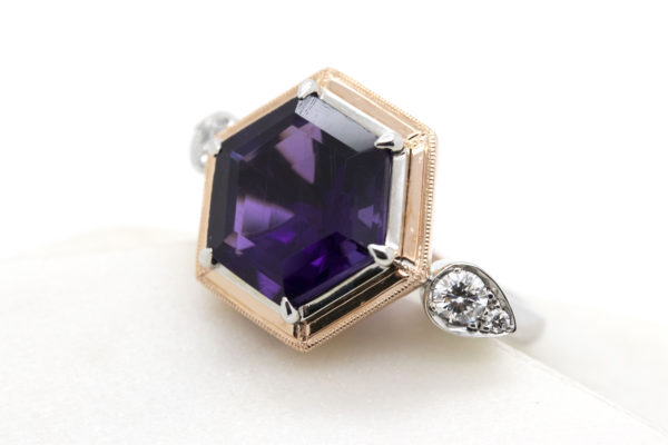 hexagon amethyst cocktail ring
