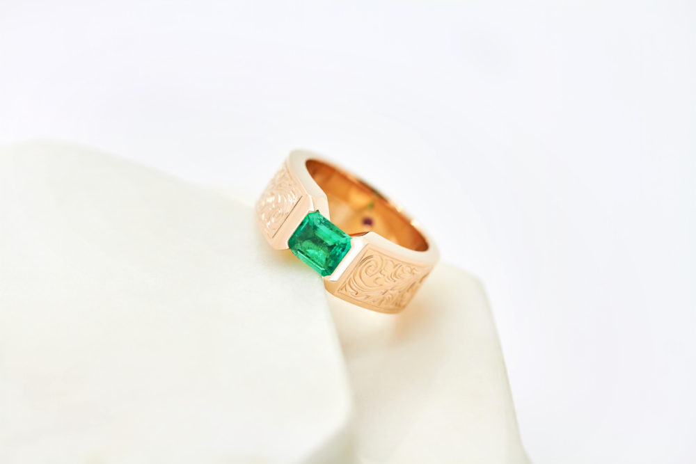 rose gold bespoke engagement ring emeralds