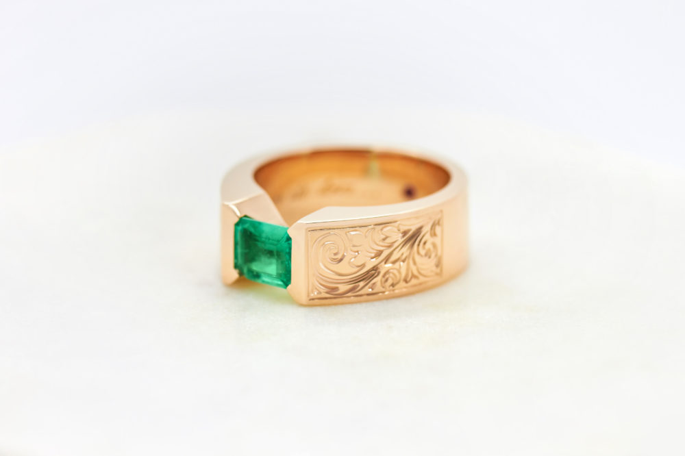 bespoke ring, rose gold, emeralds