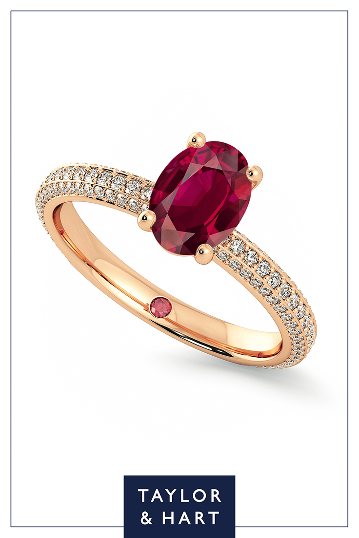 Taylor and Hart, oval cut, ruby, rubies, rose gold