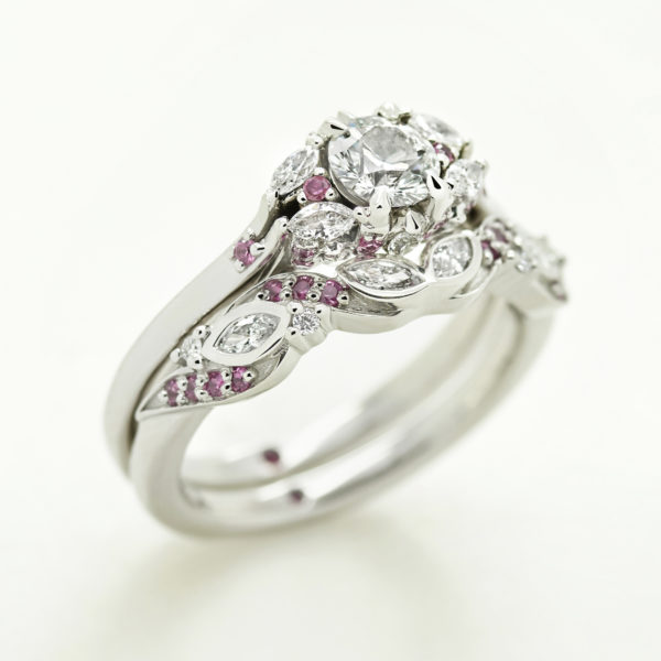 custom marquise diamond and pink sapphire engagement and wedding ring set