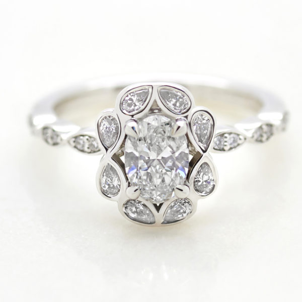 custom marquise diamond halo engagement ring
