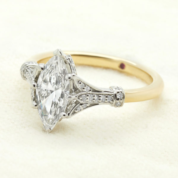 marquise diamond custom engagement ring vintage inspired yellow gold platinum mixed metal
