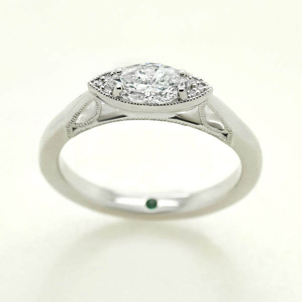 marquise east west diamond set custom engagement ring