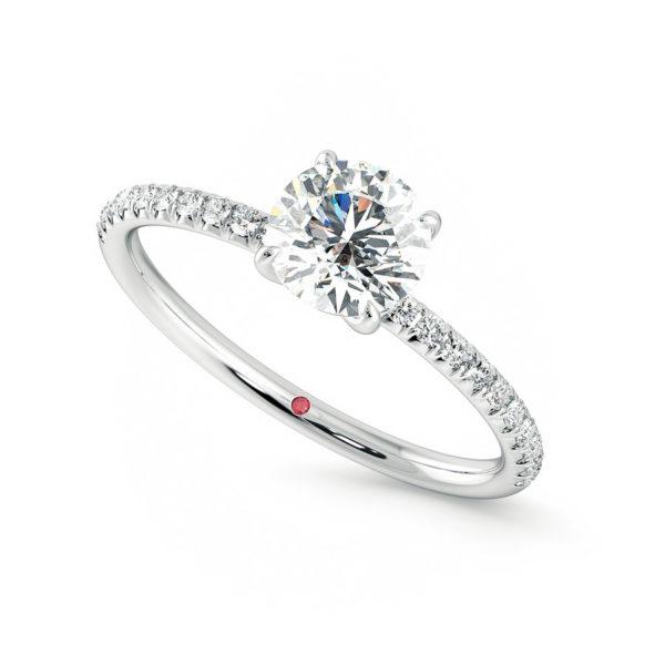 Oval diamond center and fishtail pavé diamond set in platinum