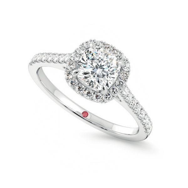 allure cushion platinum diamond halo engagement ring