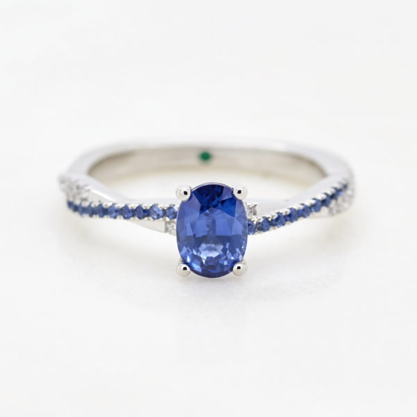blue oval sapphire twist band diamond pave white gold engagement ring