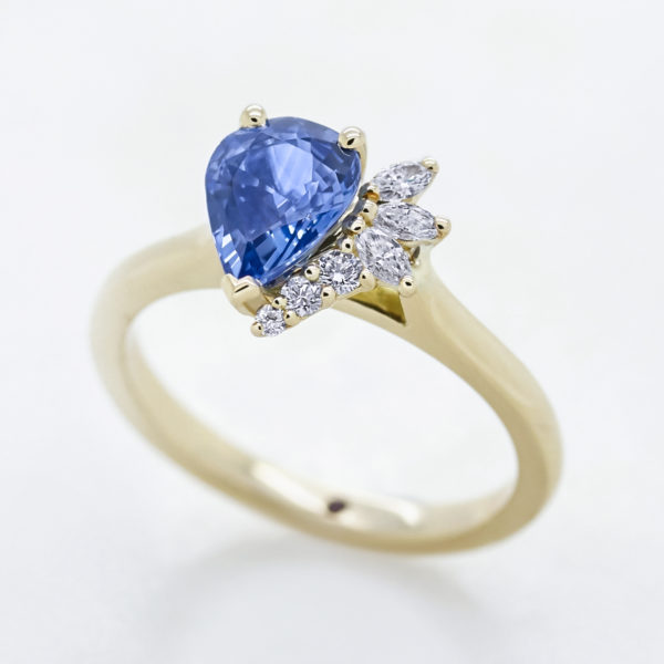 Taylor & Hart blue pear sapphire pear diamond side yellow gold band