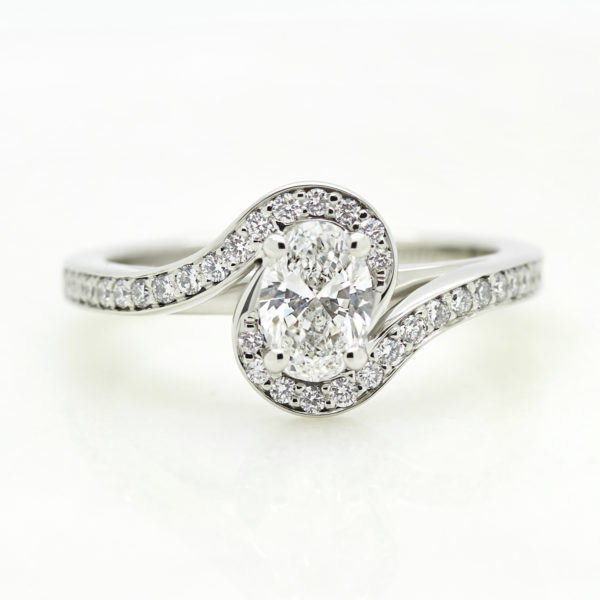 oval diamond with split halo engagement ring
