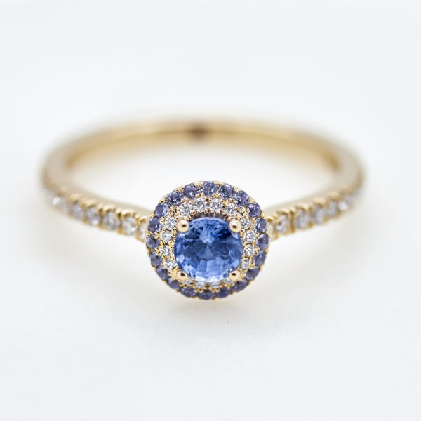 round blue sapphire double halo pave yellow gold engagement ring