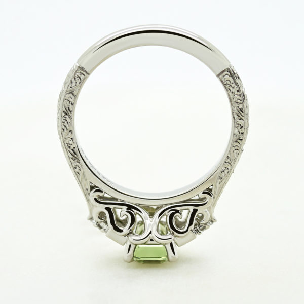 vintage inspired filigree and engraving engagement ring