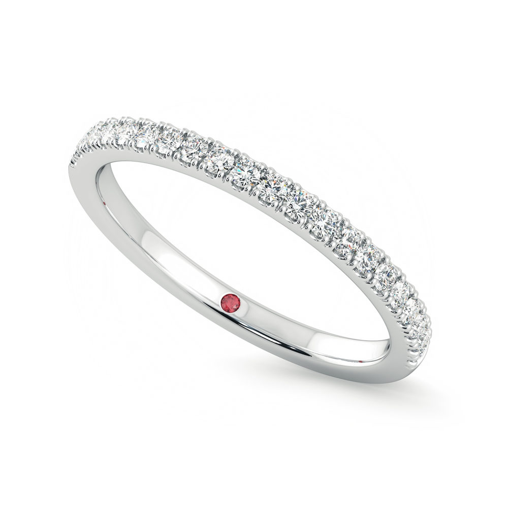 Wedding ring 1.6mm diamond pave platinum taylor and hart