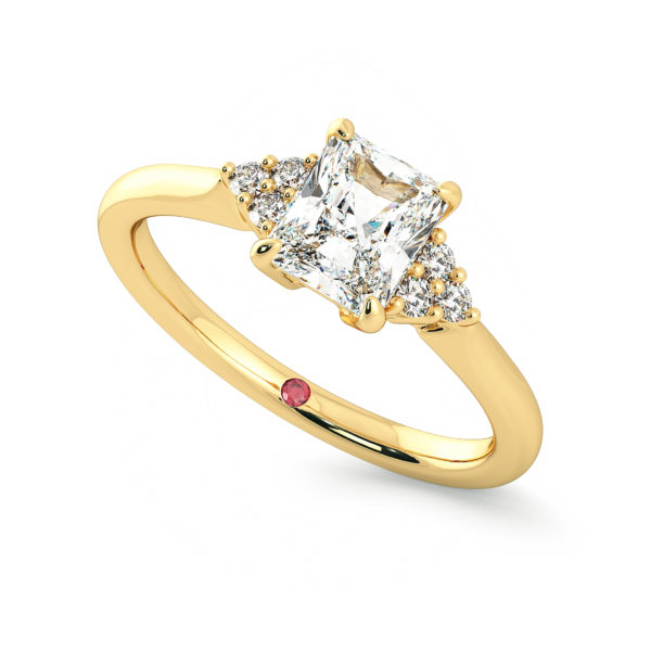 radiant diamond divinity yellow gold engagement ring