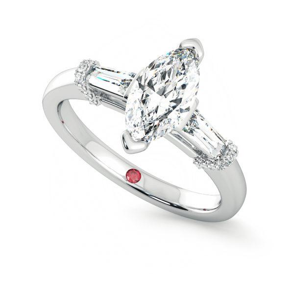 Platinum marquise trilogy diamond engagement ring utopia