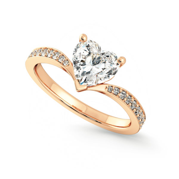 heart diamond pave rose gold embrace engagement ring