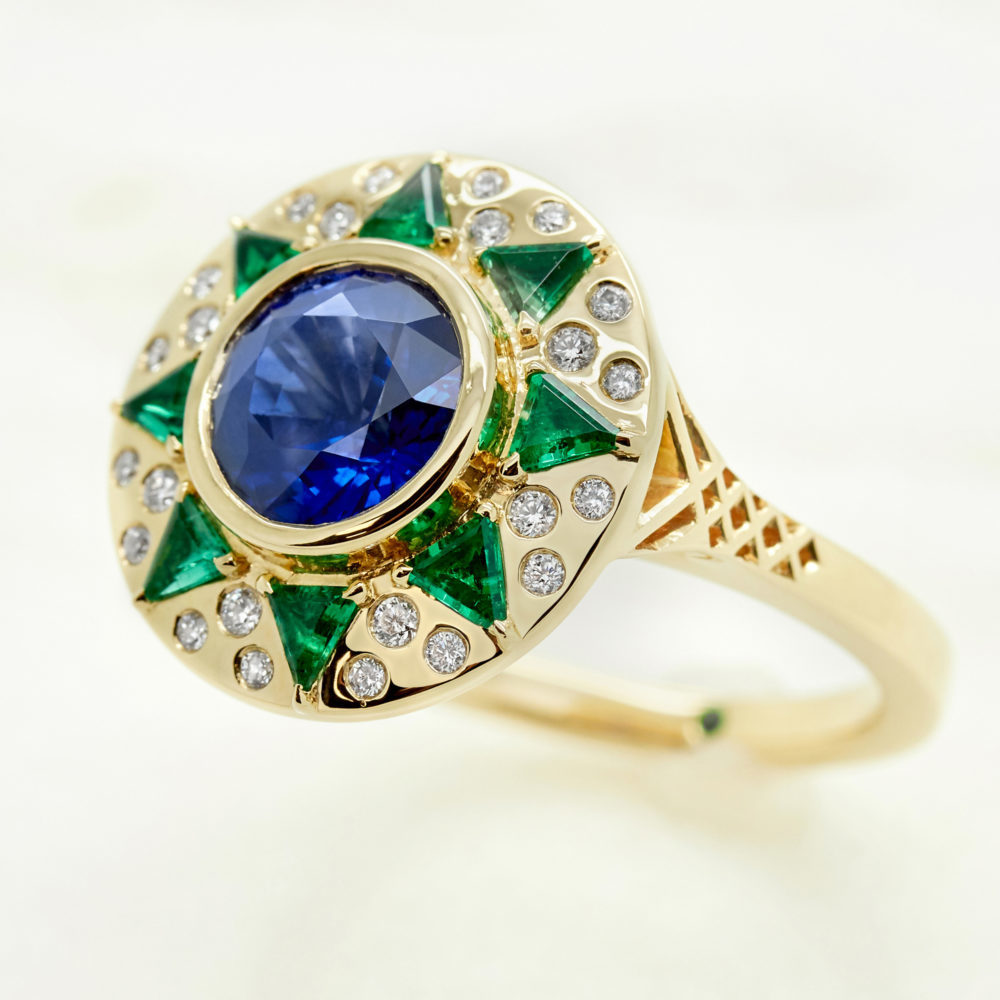 blue round sapphire yellow gold engagement ring custom emeralds diamonds sun ring