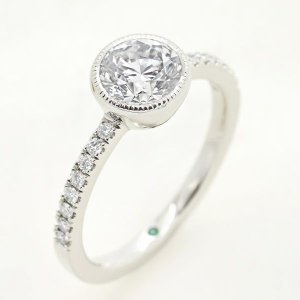 round diamond pave engagement ring milgrain bezel